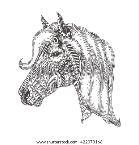 Handdrawn Horse Ethnic Floral Doodle Pattern Stock Vector