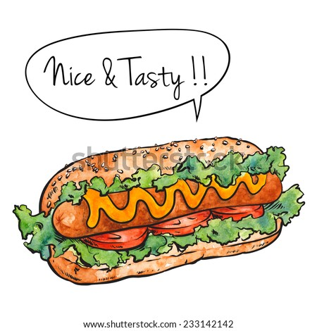 Hand Drawn Hot Dog, Watercolor Sketch,Vector Illustration For Food Design. - stock vector
