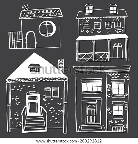 Hand drawn house pattern, village houses. - stock vector