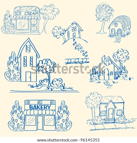 Hand Drawn Houses Icon Set            vector eps10 - stock vector