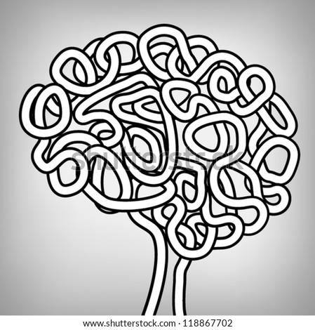 Hand Drawn Human Brain, a thinking human concept, EPS10 Vector background - stock vector