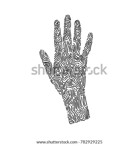 Hand Drawn Human Handprint In Doodle Style With Ornate Pattern For Adult Coloring Pages Tattoo