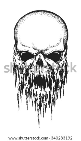 Hand drawn human skull covered in icicles. Vector illustration