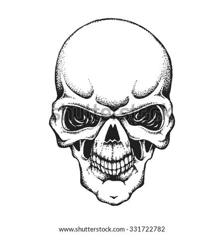 Hand drawn human skull. Vector illustration - stock vector