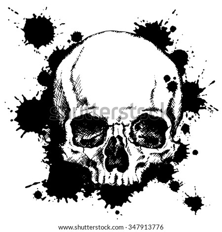 Hand-drawn human skull with black ink blots. Vector illustration