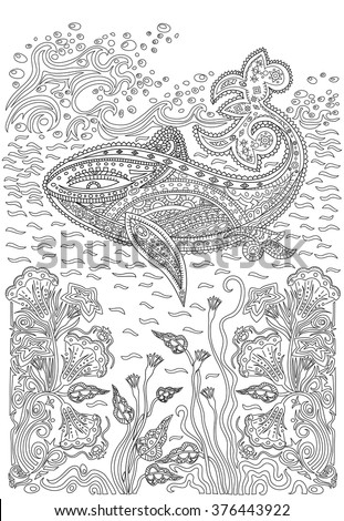 Hand drawn humpback whale in the waves and with seaweed stress Coloring Page with high details, isolated on pattern background, illustration in zentangle style. - stock vector