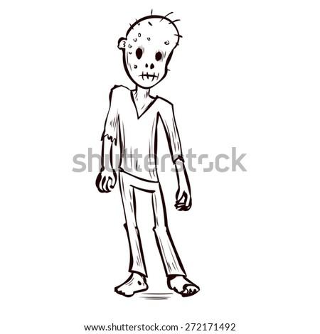 Hand drawn hungry scary zombie. Cartoon vector illustration. - stock vector