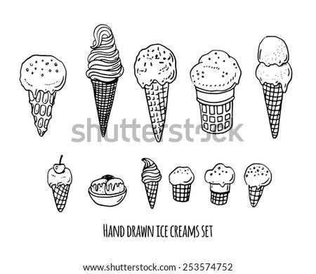 Hand drawn ice creams doodle set. - stock vector