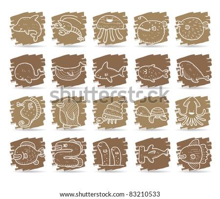 Hand drawn icon, Cute cartoon sea creatures - stock vector