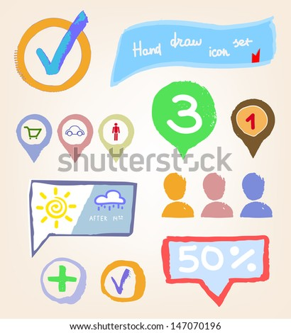 Hand drawn icon set, vector illustration - stock vector