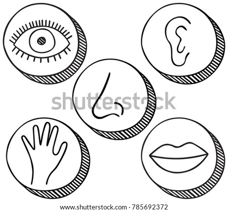 Hand Drawn Icons Containing Symbols Five Stock Vector 785692372