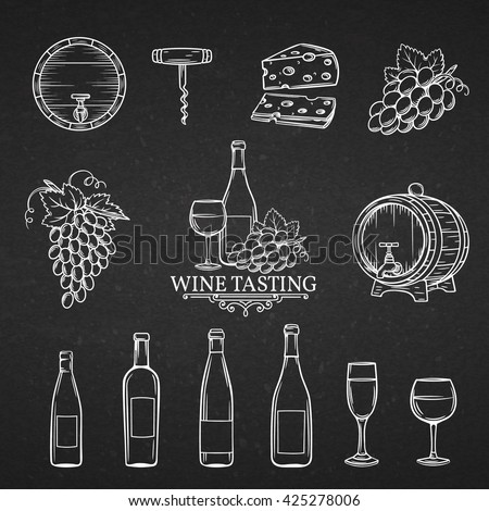 Hand drawn icons of wine in chalk board style.   Decorative wine  icons wine in old style for the design of wine labels cards brochures. Wine vector illustration. - stock vector