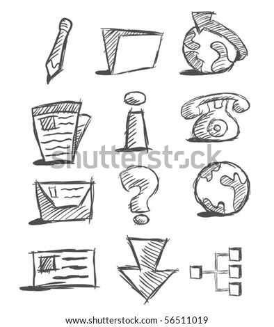 Hand drawn icons set - stock vector