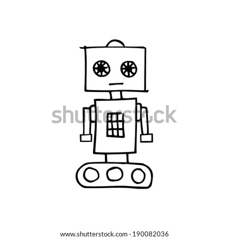 Hand drawn illustrated line art Illustration of a sketch robot - stock vector