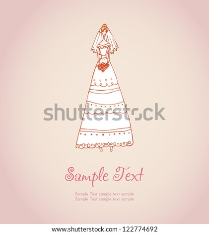 Hand drawn illustration and place for your text. Template with image of bride in wedding dress