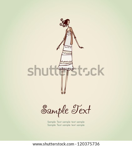 Hand drawn illustration and place for your text. Template with image of pretty girl with curly hair for design and decoration greeting cards, scrapbooking - stock vector