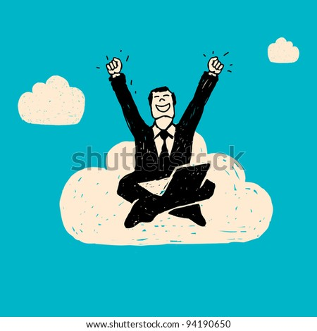 Hand drawn illustration. Businessman with computer sitting on the cloud.