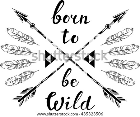hand drawn illustration  in boho style - stock vector