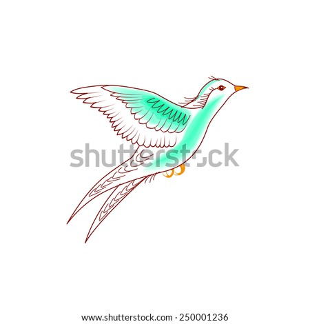 Hand-drawn illustration natural flying birds on white background - stock vector