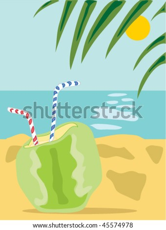 hand drawn illustration of a green coconut ready to drink with two straws on a tropical beach with palm fronds and blue sky