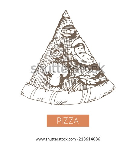 Hand drawn illustration of a pizza slice. EPS 10. No transparency. No gradients. - stock vector