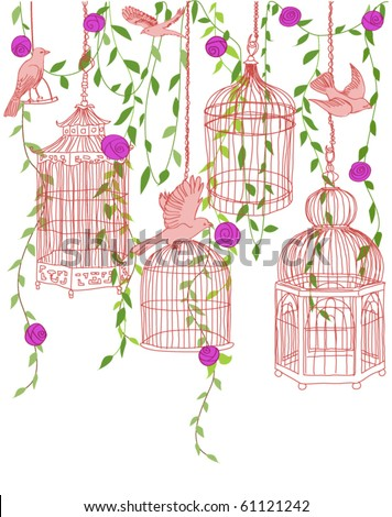 Hand-drawn illustration of a rose garden filled with free birds and ornate cages - stock vector