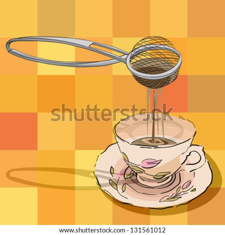 hand drawn illustration of a tea strainer and a cup over a tablecloth pattern with squares - stock vector