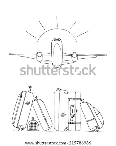 Hand drawn illustration of an airplane on a background of  travel  suitcases and bags - stock vector