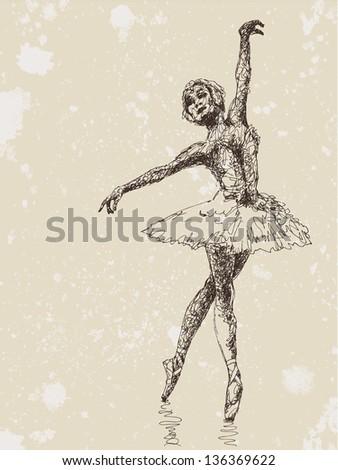 Hand drawn illustration of ballet dancer, retro style - stock vector