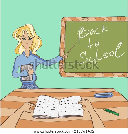 Hand-drawn illustration of classroom in 1 september with teacher - stock vector