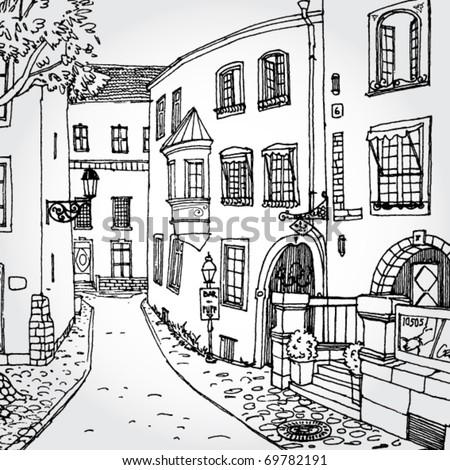 Hand Drawn Illustration of Cozy European Street - stock vector