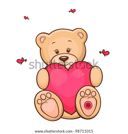 Hand drawn illustration of cute teddy bear with red heart. - stock vector