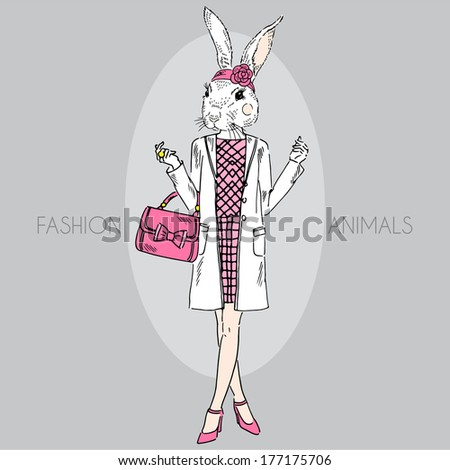 Hand drawn illustration of dressed up bunny girl in colors - stock vector