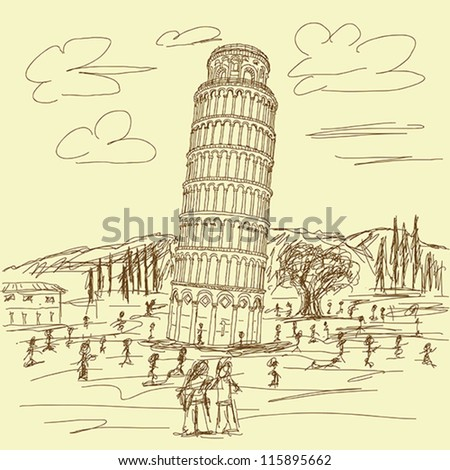 hand drawn illustration of famous tourist destination leaning tower of pisa Italy in vintage color.