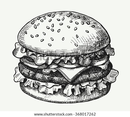 Hand drawn illustration of hamburger. - stock vector