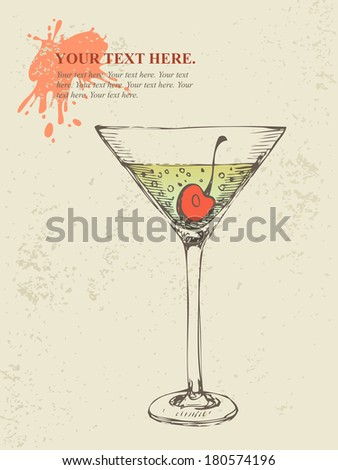 Hand drawn illustration of iced tropical cocktail. - stock vector