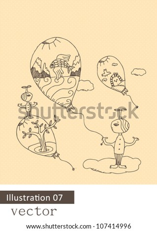 Hand drawn illustration of imaginary figures in a surreal scene-flying kites - stock vector
