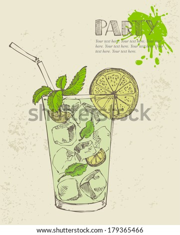 Hand drawn illustration of mojito with mint and lime. - stock vector
