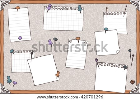 Hand drawn illustration of pin board, pins, needles, and empty note papers - stock vector