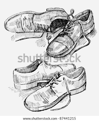 Hand Drawn Illustration of shoes - stock vector