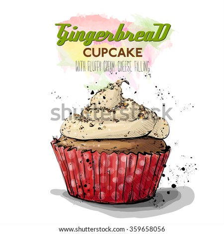 Hand drawn illustration of tasty cupcake. Vector collection. - stock vector