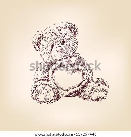 Hand drawn illustration of  teddy bear with  heart. - stock vector