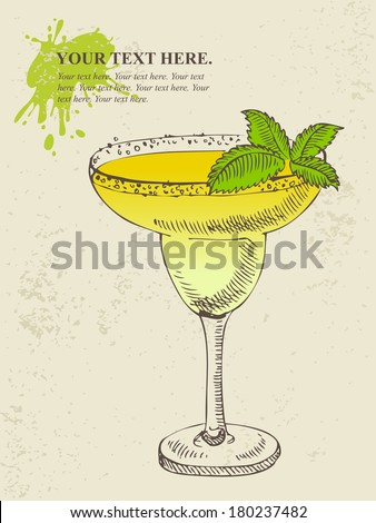 Hand drawn illustration of tropical yellow cocktail with mint. - stock vector