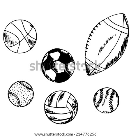 hand drawn illustration of types of balls for sports games, set, doodle  - stock vector