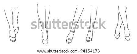 Hand drawn illustration of various women legs and poses