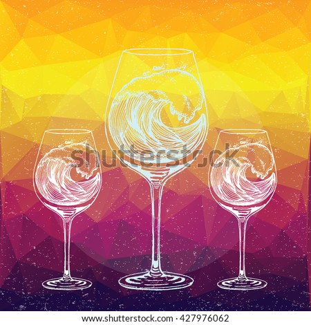 Hand drawn illustration of wave in wine glass in line art style with engraved elements. Sketch on vintage background for web print brochure. Vector Decorative Pattern. Low poly geometric design. - stock vector