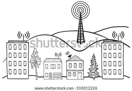 Hand drawn illustration of wireless signal of internet into houses in city - stock vector