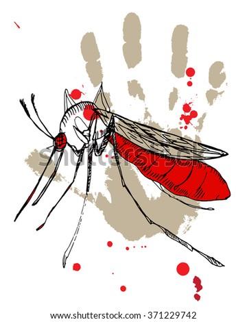 Hand drawn illustration of Zika virus danger. - stock vector