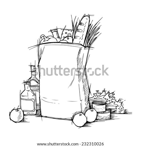 Hand drawn illustration - Paper Bag With Food. Sketch. Vector. - stock vector