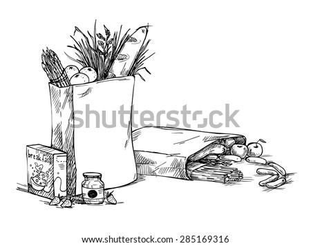 Hand drawn illustration - Paper Bags With Food. Sketch. Vector. - stock vector